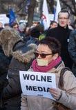 La dimostrazione del comitato della difesa dei mezzi e della democrazia di /wolne di media di democrazia KOD gratis contro PIS g fotografia stock libera da diritti