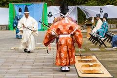 La dimostrazione di Kyudo comincia Fotografia Stock