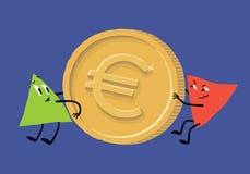 La dinámica positiva y negativa del euro Inflación en el área euro (inflación euro, desplome euro, crisis euro) stock de ilustración