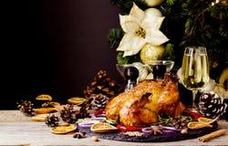 La dinde cuite au four ou chiken ou l'espace de jour de thanksgiving de Noël ou de nouvelle année pour le texte Photographie stock