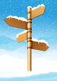 La dirección señal adentro el bosque del invierno libre illustration