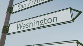 La direction de Washington se connectent le poteau indicateur de route avec des légendes américaines de villes Rendu 3d conceptue Images libres de droits