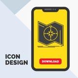 La direzione, esplora, traccia, traversa, icona di glifo di navigazione in cellulare per la pagina di download Fondo giallo illustrazione vettoriale