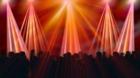 La disco clignote avec la foule de concert et les réflecteurs colorés, longueur courante illustration de vecteur