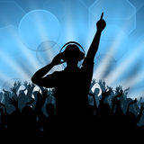 La disco du DJ représente la danse et le disc-jockey de musique Image stock