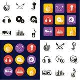 La disco ou matraquent tous dans les icônes une noires et la conception plate de couleur blanche à main levée réglée Photos libres de droits