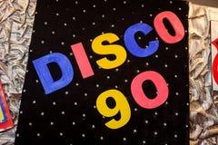 La discoteca 90 dell'iscrizione Fotografia Stock