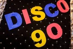 La discoteca 90 dell'iscrizione Fotografie Stock