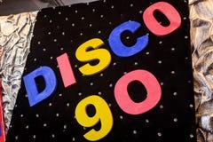 La discoteca 90 dell'iscrizione Immagini Stock Libere da Diritti