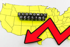 La disminución de la economía de los E.E.U.U. como símbolo Fotos de archivo libres de regalías