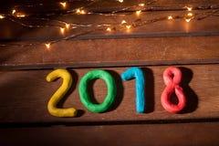 La disposición de las figuras por el Año Nuevo próximo Fotografía de archivo