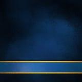 La disposición azul elegante del fondo con el azul en blanco y el oro rayan el pie de página Imagen de archivo