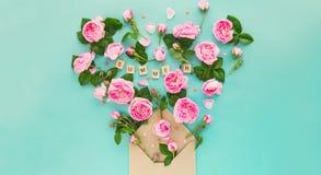 La disposition créative avec les fleurs roses de thé rose, feuilles volent hors du Cr Photo stock