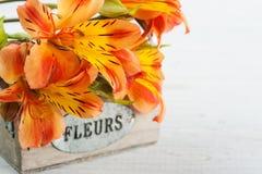 La disposition du lis orange fleurit dans la boîte en bois Photos libres de droits