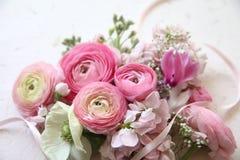 Fiori rosa con il nastro Fotografie Stock