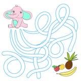 La disposizione per il labirinto del gioco trova un elefante di modo royalty illustrazione gratis
