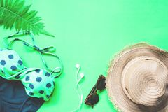 La disposizione piana del bikini e degli accessori con la felce va su fondo verde, sull'estate e sul concetto tropicale Fotografia Stock Libera da Diritti