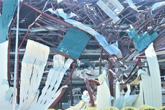 La distruzione di Michael di uragano di Florida di tornado ha distrutto i bacini dei pilastri cancellati immagini stock