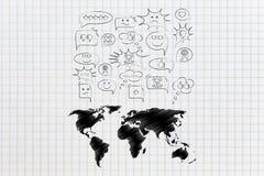 La divergence de vues que la carte du monde avec la parole bouillonne avec diffèrent photographie stock