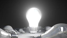 La diversa luz de bulbo y enciende la luz de bulbo stock de ilustración