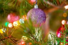 La diversa Navidad juega en un árbol imperecedero adornado Imágenes de archivo libres de regalías