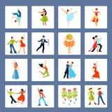 La diverse danse dénomme les icônes plates illustration libre de droits
