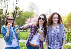 La diversión hawing de los adolescentes felices pasa el tiempo junto en el parque de la ciudad Fotografía de archivo libre de regalías