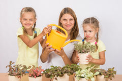La diversión y la mamá y la hija divertidas regaron las flores Foto de archivo