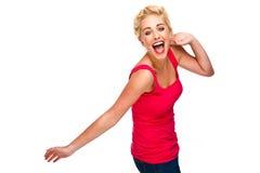 La diversión y libera - a la mujer que ríe y que baila Foto de archivo