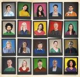La diversità della gente affronta il concetto della Comunità del ritratto del viso umano Immagini Stock