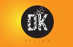 La dk D K Logo Made delle lettere minuscole con il cerchio nero e la B gialla Fotografia Stock
