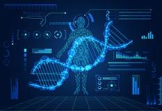 La DNA digital humana de la tecnología del concepto futurista abstracto del ui cura ilustración del vector