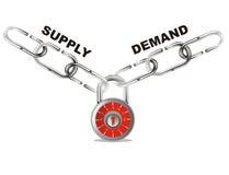 La domanda e l'offerta connettono la catena Immagini Stock Libere da Diritti