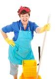La domestica gode del suo job Immagine Stock Libera da Diritti