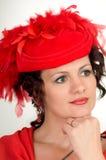 La donna è in cappello rosso Fotografie Stock