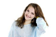La donna è felice sul job immagine stock