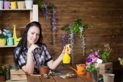 La donna è impegnata nella piantatura dei fiori immagine stock