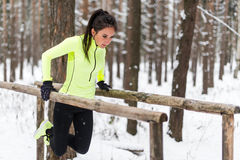 La donna adatta che lavora con il propri tricipite e bicipite di allenamento del peso corporeo sull'orizzontale immerge le barre  Immagine Stock