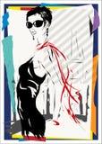 La donna alla moda scende la via, autunno Fotografia Stock Libera da Diritti