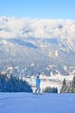 La donna alla montagna di inverno di vista l'austria Immagini Stock Libere da Diritti