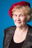 La donna anziana allegra. Fotografia Stock
