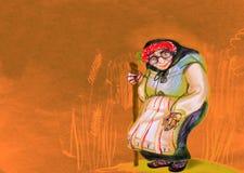 La donna anziana in Europa Orientale tradizionale copre, attingendo la carta Immagini Stock