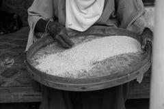 La donna anziana indonesiana pulisce il riso Fotografie Stock Libere da Diritti