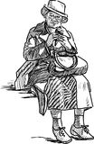 La donna anziana mangia il gelato Fotografia Stock Libera da Diritti