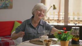 La donna anziana positiva sveglia si siede alla tavola nel salone stock footage