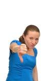 La donna arrabbiata mostra l'indice Fotografia Stock Libera da Diritti