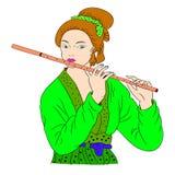 La donna asiatica sta giocando la flauto Pittura orientale di stile Illustrazione del disegno della mano con la bella donna orien Fotografie Stock Libere da Diritti