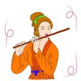 La donna asiatica sta giocando la flauto Pittura orientale di stile Illustrazione del disegno della mano con la bella donna orien Immagine Stock