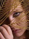 La donna bella con il nero e l'eye-liner dell'oro preparano lo sguardo del thr Immagine Stock Libera da Diritti
