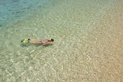 La donna in bikini sta nuotando con la presa d'aria e le alette in acqua pulita immagini stock